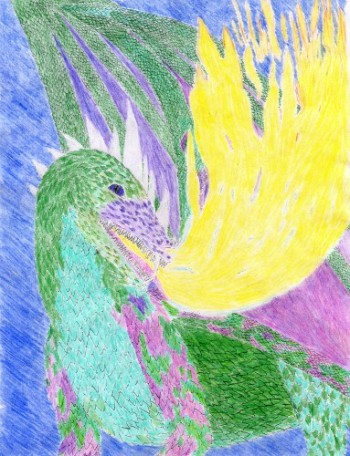 portrait of dragon breathing fire from knights of the promise, kaarathlon, fantasy fiction