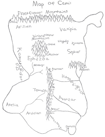 map of camil, continent in kaarathlon, the three scrolls